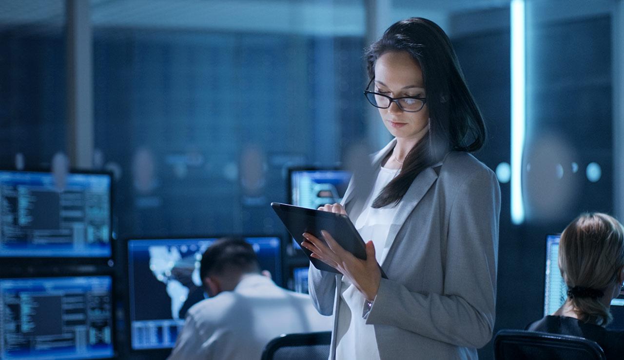 A person observes tablet